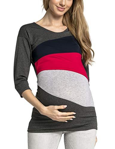 Zhhlaixing Casual Maternity Shirt Stillen Nursing Tops - Loose Schwangerschafts T-Shirt Damen Umstandsmode, Size M-2XL