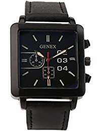 Genex Quartz Analog Black Dial Leather Strap Mens Watch-GNX-9005