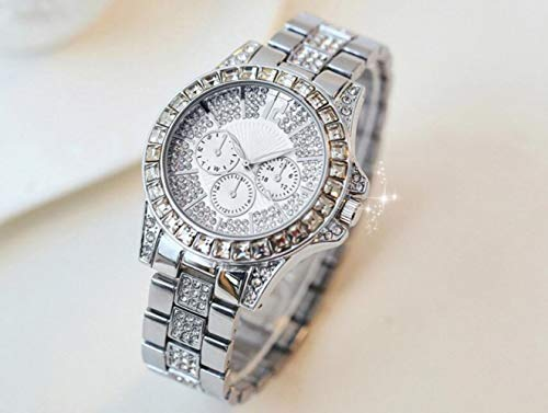 Preisvergleich Produktbild RUIMA Art- und Weisediamant-Tabellen-Explosions-Wasserdichte Damenuhr-Spitzenuhr-volle Diamant-mechanische Uhr (Farbe : Style B)