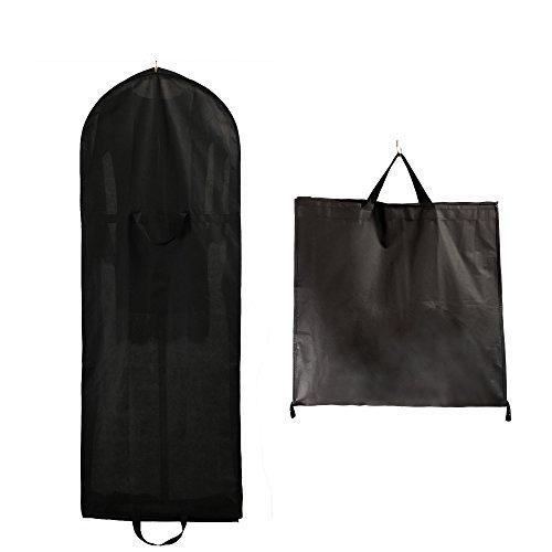 Schwarze Lange Gewand Tasche (TUKA 150cm Atmungsaktiver Kleidersack mit Reißverschluss, Faltbar, Zwei Taschen für Zubehörteile, Schutzhülle für Kleider / Anzüge / Mäntel säurefreie Langezeitlagerung, Schwarz TKB1007 black)