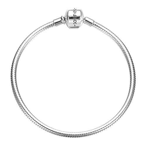 Soufeel Charms Bracelet pour Femme Chaîne Clips Serpent en Argent 925 Compatible Européen Style 16-23 CM