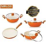 Nirlon Exterior Ceramic And Interior Non-Stick Coated Pots And Pans Set With Glass Lid | Flat Tawa | Deep Kadhai 2.4Ltr | Deep Kadhai 3Ltr