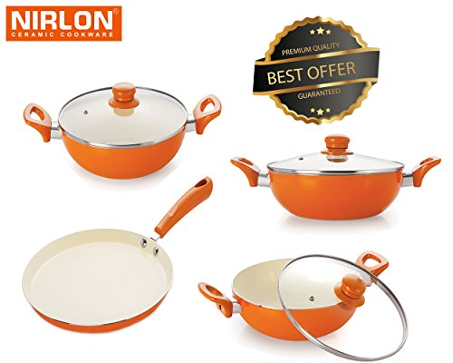 Nirlon Exterior Ceramic And Interior Non-Stick Coated Pots And Pans Set With Glass Lid | Flat Tawa | Deep Kadhai 2.4Ltr | Deep Kadhai 3Ltr