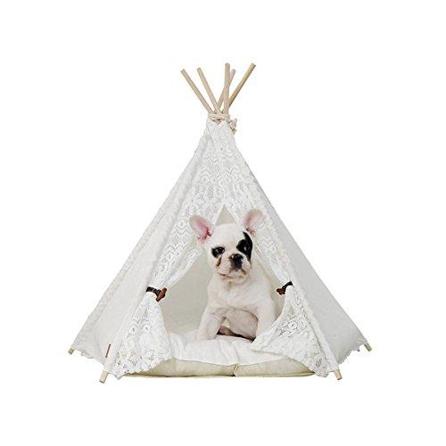 Landslide Haustier Tipi Zelt Katzen Hundspiel Haus Bett Welpen Kätzchen Kaninchen Kennel White Lace Tent