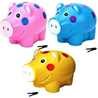 JOY STORIES® Piggy Bank, Money Saving Bank, Coin Holder for Kids - Set of 3 (Multi Colour)