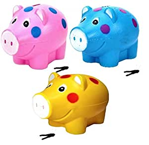 JOY STORIES® Piggy Bank, Money Saving Bank, Coin Holder for Kids - Set of 3 (Multi Colour)