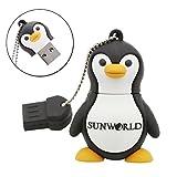 SUNWORLD niedlich Pinguin USB Stick 16GB Speicherstick 2.0 mit Schlüsselanhänger für Kinder Geschenk Schwarz