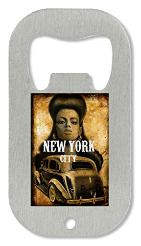 OpenWorld New York In Animation Style Vintage Retro 1960S Theme Muscle Car Crazy Haircut Flaschenöffner