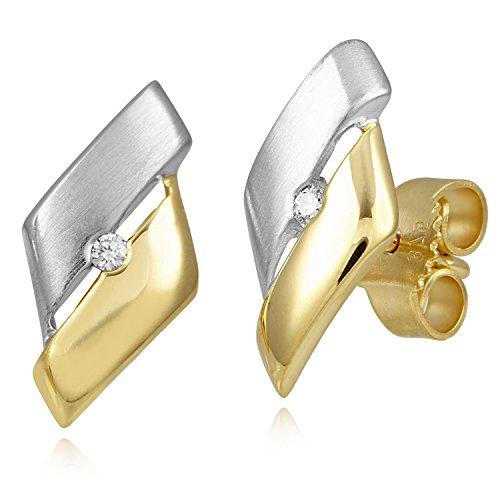 Diamond Line Damen - Ohrstecker 375er Gold 2 Diamanten ca. 0,03 ct., gelbgold
