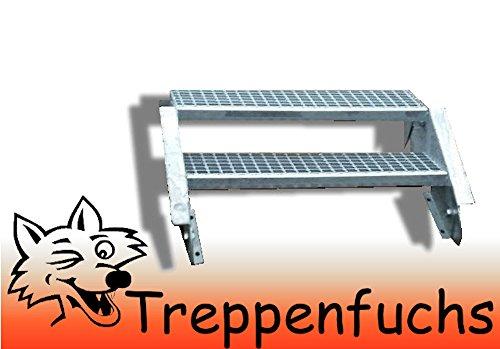 2 Stufen Stahltreppe Breite 100cm Geschosshöhe 30 - 40cm / Robuste Außentreppe / Wangentreppe / Stabile Industrietreppe für den Außenbereich / Inklusive Zubehör