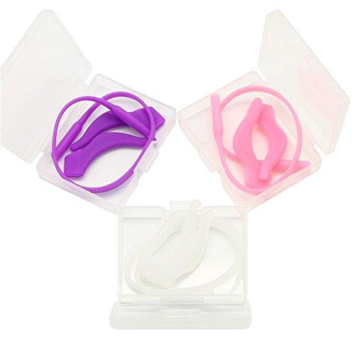 EnzoDate 3 Sets Pack Kinder Gläser Silikon Cord & Stay Puts, Kinder Brillen Ohrschlösser mit Kopfband Strap Retainer (Mädchen Farbe)