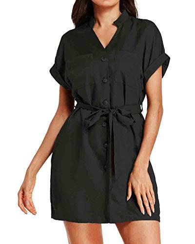CNFIO Sommerkleid Damen Blusenkleid Elegant Kleider Shirtkleider Für Damen V-Ausschnitt 1/2 Ärmel Einfarbig Shirt Design Kurz Minikleid Strand Kleider C-Schwarz EU44