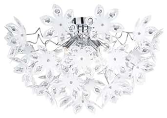 Reality R61903001 Blowball Plafoniera, 3xE14, 40 W, Rotondo, Cromo/Bianco, 30 cm