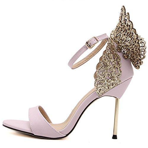Oasap Women's Peep toe Stiletto Butterfly Party Sandals Black