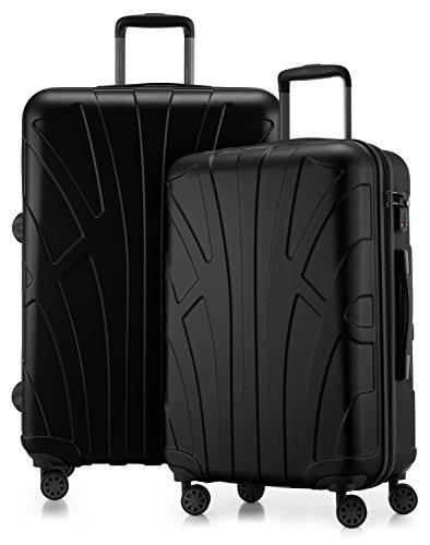 Suitline - 2er Koffer-Set Trolley-Set Rollkoffer Hartschalen-Koffer Reisekoffer, TSA, (66 cm, 76 cm), 100% ABS, Matt, Schwarz