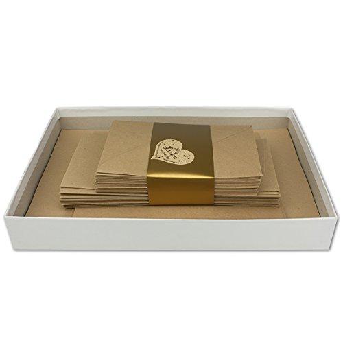Briefkassette 120 teilig - Kraftpapier 50 Briefbogen DIN A4 30 Umschläge DIN Lang   30 Briefumschläge DIN C6   5 Doppelkarten DIN A6   5 Doppelkarten DIN Lang   in weißer Geschenkbox 305 x 220 x 40 mm (Toner 49x)