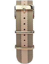 Sailor Classic hombre y mujer Nylon pulsera Habour en color marrón beige, cierre Roségold o plata, 18 mm de ancho (estrecho), bsl101 – 2016 – 18, también disponibles en tamaño 20 mm