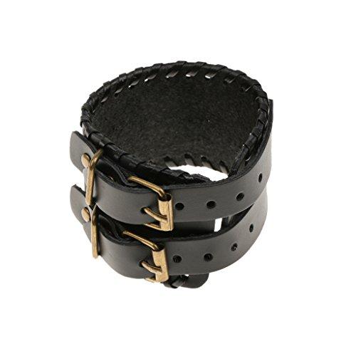 Gazechimp Unisexe Bracelet Noir en Cuir Tricoté Bande Large Extensible Bijoux Style Gothique