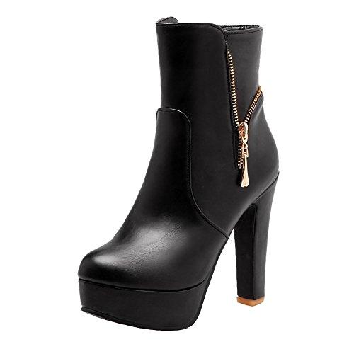 Mee Shoes Damen Reißverschluss Plateau runde high heels Stiefel Schwarz