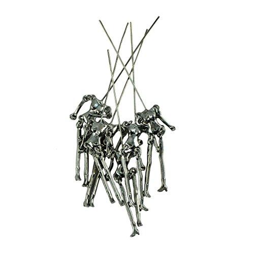 Dolity Ein Paket von 6 Sätzen menschlichen Körper Skeleton Körper passen DIY Puppen Anhänger - Hämatitschwarz (Paket Körper Menschlichen)