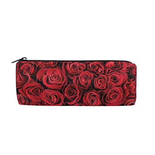 ZZKKO Federmäppchen zum Valentinstag mit roter Rose mit Reißverschluss für Kinder, Mädchen, Jungen, Teenager und Erwachsene (Für Karten Valentine Die Schule)