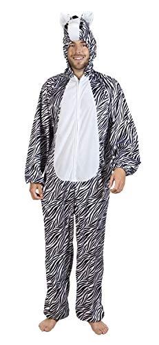 Boland 88052 Erwachsenenkostüm Zebra Plüsch, Unisex- Erwachsene, Schwarz/Weiß, max 1,80 m