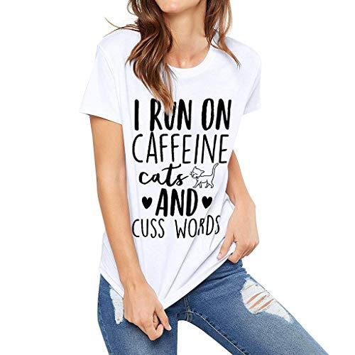 YOcolour T-Shirt Damen Kurzarm Casual Komfort Brief Drucken Tops Frauen Tee Shirt Lose Beiläufige Bluse Classic Lässiges Oberteile(Weiß 1,L2)