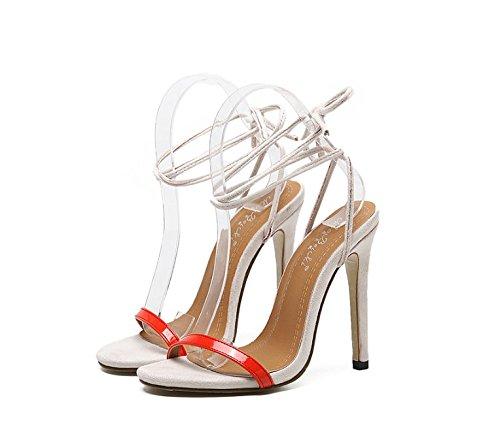 GS~LY Semplice benda con tacco alto sandali Apricot color