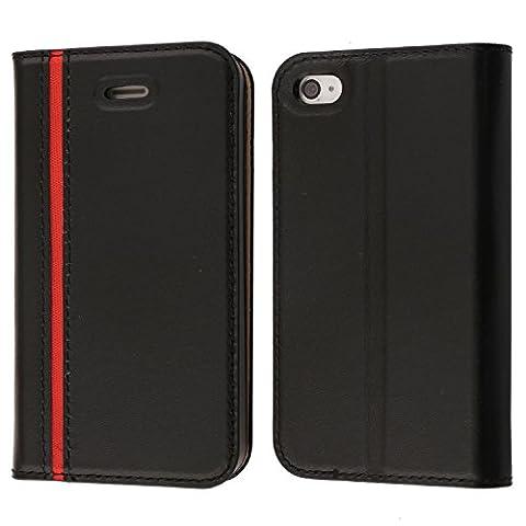 Etui iPhone 4S, Etui iPhone 4, Coodio Housse en Cuir Véritable, Portefeuille iPhone 4S, élégant Coque de Protection avec emplacement de cartes, Option Stand Pour iPhone 4S, iPhone