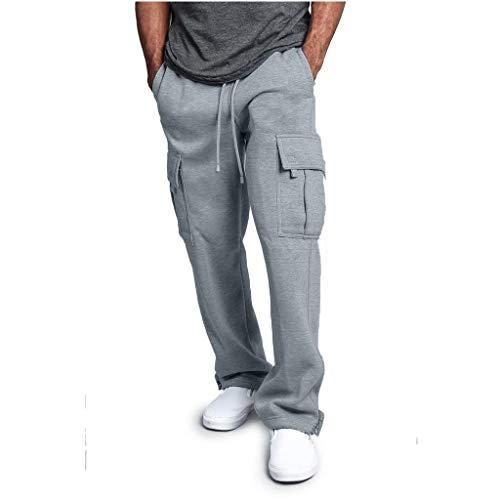 Yvelands Herren Spleißen Overalls Lässige Pocket Sport Work Lässige Hosen (Grau,XL) (Halloween-kostüm Tote Polizistin)