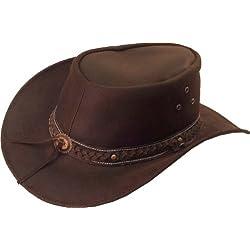 UNICORN Sombrero de vaquero australiano - Real Cuero - Marrón Sol Sombrero #8H (M)