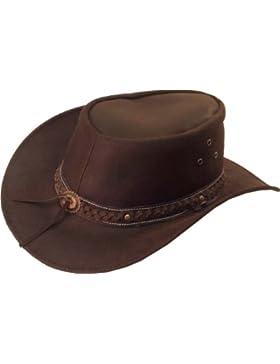UNICORN Sombrero de vaquero australiano - Real Cuero - Marrón Sol Sombrero #8H