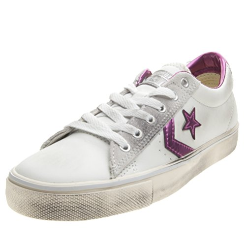 Converse Pro Leather Vulc Ox, A Collo Basso Donna, Bianco (White/Plastic Pink/Turtledove), 38 EU