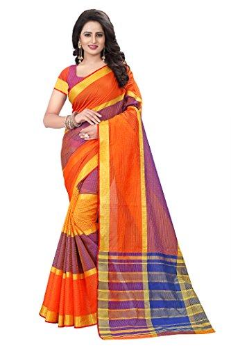 Roadstar India Women's Cotton Saree with Blouse Piece (Sayan_Kota_Saree) (Blue)