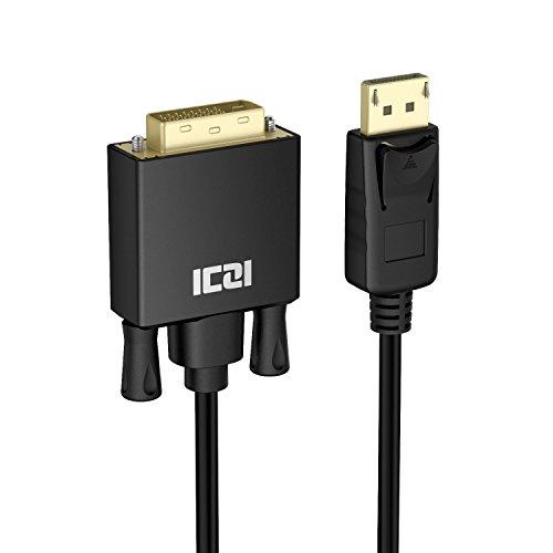 ICZI Displayport(DP) auf DVI Kabel, Male zu Male Vergoldet 1080p, für PC, Notebooks, Blu Ray Player und Mehr, Schwarz (3m)