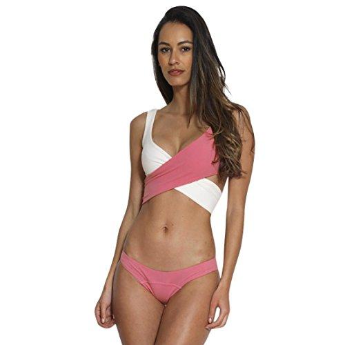 Preisvergleich Produktbild Hffan Sexy Strand Damen Bikini Set Bademode Badeanzüge Bikinis für Frauen Mädchen Bandeau Farbblock Push Up Gepolsterte Bade Mode Sommer Beachwear Split Swimwear (Rosa,  S)