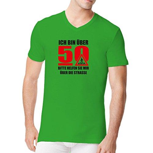 Fun Sprüche Männer V-Neck Shirt - Ich bin über 50 by Im-Shirt Kelly Green