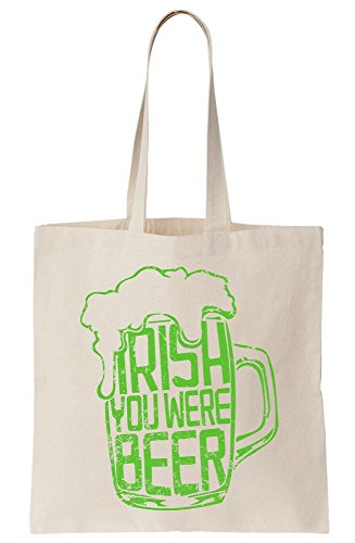 graphke Irish I Wish You Were Beer Glass Of Beer Design Canvas Tote Bag