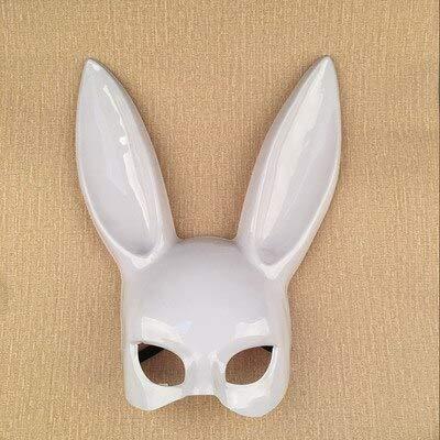 Cute Bunny Mask Halloween Maskerade Dress Up Mask Heißer Lange Hasenohren Masken Schwarz Weiß Obere Gesichtshälfte Ball Party Masken, Leuchtend weiß