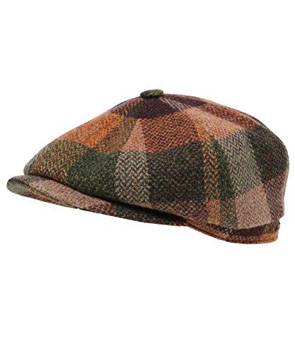 Stetson Herren Lammwolle Check Hatteras cap 60 cm Beige-Grün (Überprüfen Lammwolle)