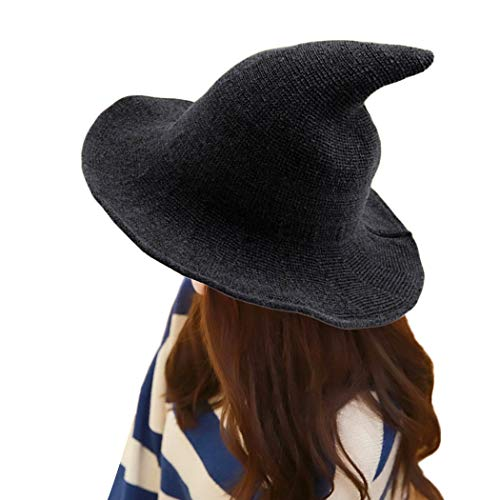 LIUYUNE,Moderner Hexenhut aus modischem Schafwolle Halloween Hexenhut NEU(Color:DUNKELGRAU)