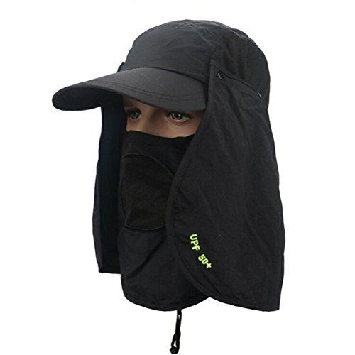 WINOMO Boonie Bucket Hut Frauen Outdoor Wide Brim Hut Anti-UV Flap Cap für Camping Angeln Wandern (Schwarz) (Dschungel Hut Boonie)