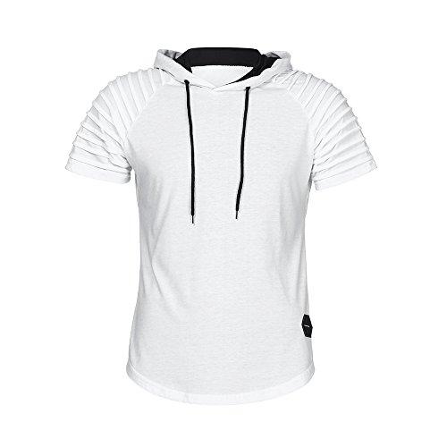 VEMOW Sommer Frühling Herbst Männer T-Shirt Slim Fit Mit Kapuze Kurzarm Muscle Baumwolle Casual Täglichen Party Urlaub Sport Workout Tops Bluse Shirts(Weiß, EU-50/CN-XL)