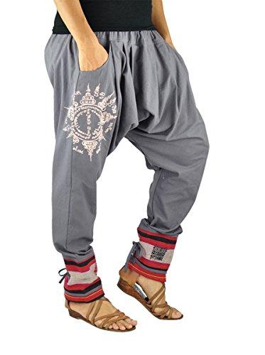 virblatt – Haremshose Damen und Herren Alternative Kleidung - Paed Tidt Yant grau