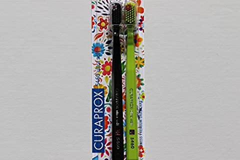 Ultra soft toothbrush, 2 brushes. Curaprox Ultra Soft 5460, Limited Edition, Sign of Love, Peace & Happiness. Softer feeling & better cleaning, in alluring colours. Featuring a small flower on the bristles of each brush. The ideal gifts for Him & Her.
