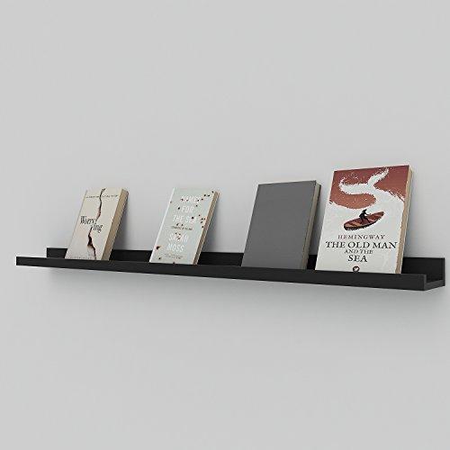 fotoleiste holz Acecoree Wandregal Dekoregal, MDF Holz Schweberegal Hängeregal Wandboard CD/DVD /Bild Display Ledge Wall Mount Regal (Schwarz/120 x 9 cm)