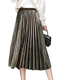 Mujer Una Falda De Línea Casual De Cintura Alta Swing Midi Terciopelo Plisado  Faldas 1ec7428f8cf4