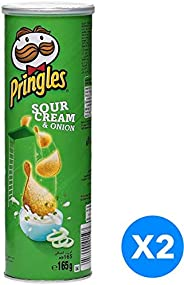 Pringles Sour Cream and Onion Flavored Chips  - 165 grams (Pack of 2)