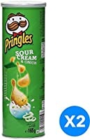 Pringles Sour Cream and Onion Flavored Chips 165 grams Pack of 2 Cans
