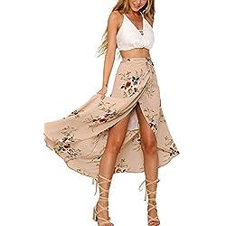 Simplee Apparel Las mujeres de cintura alta verano casual Boho maxi falda de estampado floral Wrap cubierta de largo